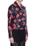 MSGM Leather Biker Jacket With Lips Print - Lyst
