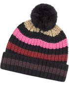 Sonia Rykiel Multico Cardinal Large Stripes Wool Pompom Hat - Lyst
