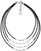 John Hardy Bamboo Silver Four Row Necklace Black Cord - Lyst