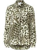 Diane von Furstenberg Silk Leopard Print Shirt - Lyst