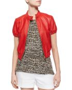MICHAEL Michael Kors Cropped Fitted Leather Moto Jacket - Lyst