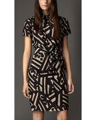 Burberry Geometric Print Silk Shirt Dress - Lyst
