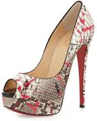 Christian Louboutin Lady Peep Python Red Sole Pump - Lyst