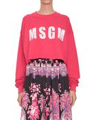 MSGM Viscose Cropped Sweatshirt With Logo Print - Lyst