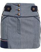 Anthony Vaccarello Striped Denim Skirt - Lyst