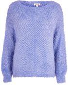 River Island Light Blue Eyelash Knit Jumper - Lyst