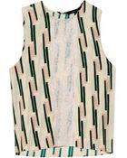 Wes Gordon Lace-Panelled Crepe Top - Lyst