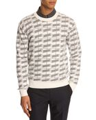 MELINDAGLOSS White Round-Neck Sweater With Fair Isle Print - Lyst