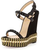 Christian Louboutin Cataclou Mixed-Media Red Sole Espadrille Sandal - Lyst