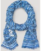 Tory Burch Watercolor Striped Oblong Scarf - Lyst