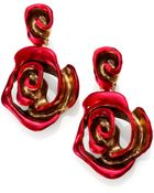 Oscar de la Renta Painted Rose Clip-On Drop Earrings - Lyst