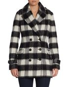 Mackage Double-Breasted Leather-Accented Peacoat - Lyst