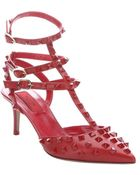 Valentino Red Leather 'Rockstud' T-Strap Pointed Toe Pumps - Lyst