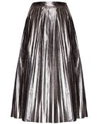 Pixie Market Heavy Metal Pleated Midi Skirt - Lyst