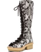 3.1 Phillip Lim Mallory Lace-Up Snake-Effect Leather Knee Boots - Lyst