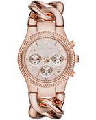 Michael Kors Women'S Chronograph Runway Twist Rose Gold-Tone Stainless Steel Bracelet Watch 38Mm Mk3247 - Lyst