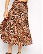 Asos Pleated Midi Skirt In Animal Print - Lyst