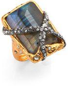 Alexis Bittar Elements Phoenix Labradorite Rocky Rectangle Ring - Lyst
