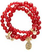 Sequin Women'S Beaded Stretch Bracelets - Red (Set Of 3) - Lyst