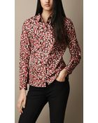 Burberry Cotton Camouflage Flower Print Shirt - Lyst