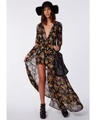 Missguided Roxy Floral Chiffon Plunge Maxi Overlay Playsuit Black - Lyst