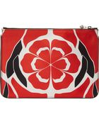 Alexander McQueen Flame Red Floral Matisse Print Zip Pouch - Lyst