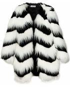 Pixie Market Ziggy Black And White Faux Fur Coat - Lyst