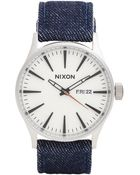 "Nixon ""The Sentry Leather"" Watch - Lyst"