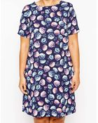 Asos Curve Exclusive T-Shirt Dress In Rose Print - Lyst