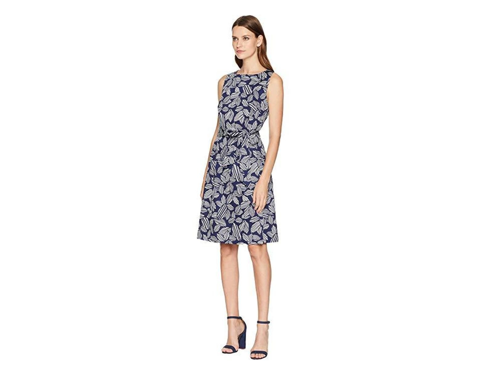 04a36dd75d2d8 Anne Klein Fit Flare Dress With Sash (eclipse/white) Dress in Blue - Lyst
