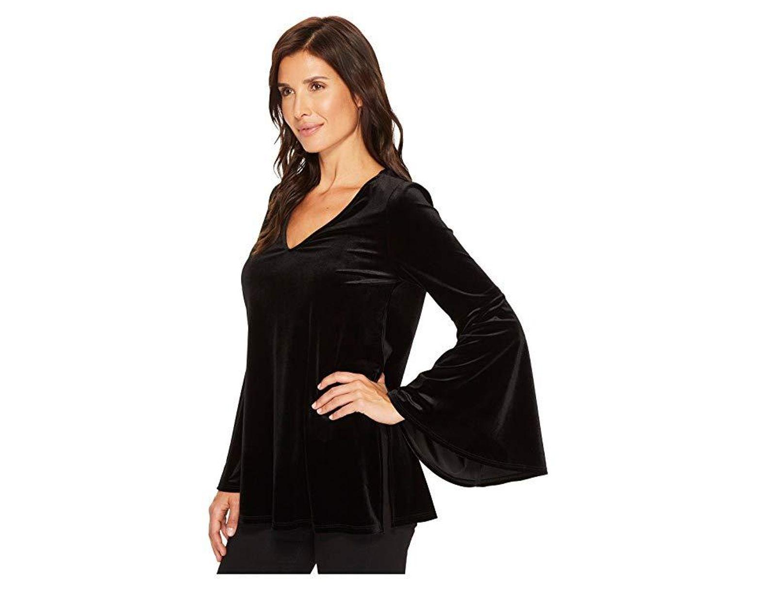 ea0a932dd615 Karen Kane Velvet Bell Sleeve V-neck Top (black) Clothing in Black - Save  58% - Lyst