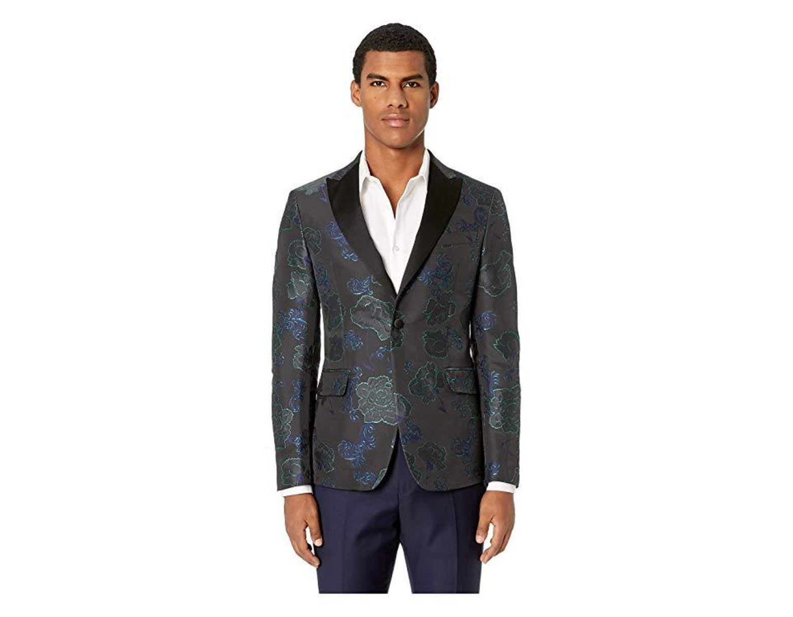 55a54611979 Versace Brocade Tuxedo Jacket (blue Navy/grey/green) Coat in Blue for Men -  Save 22% - Lyst