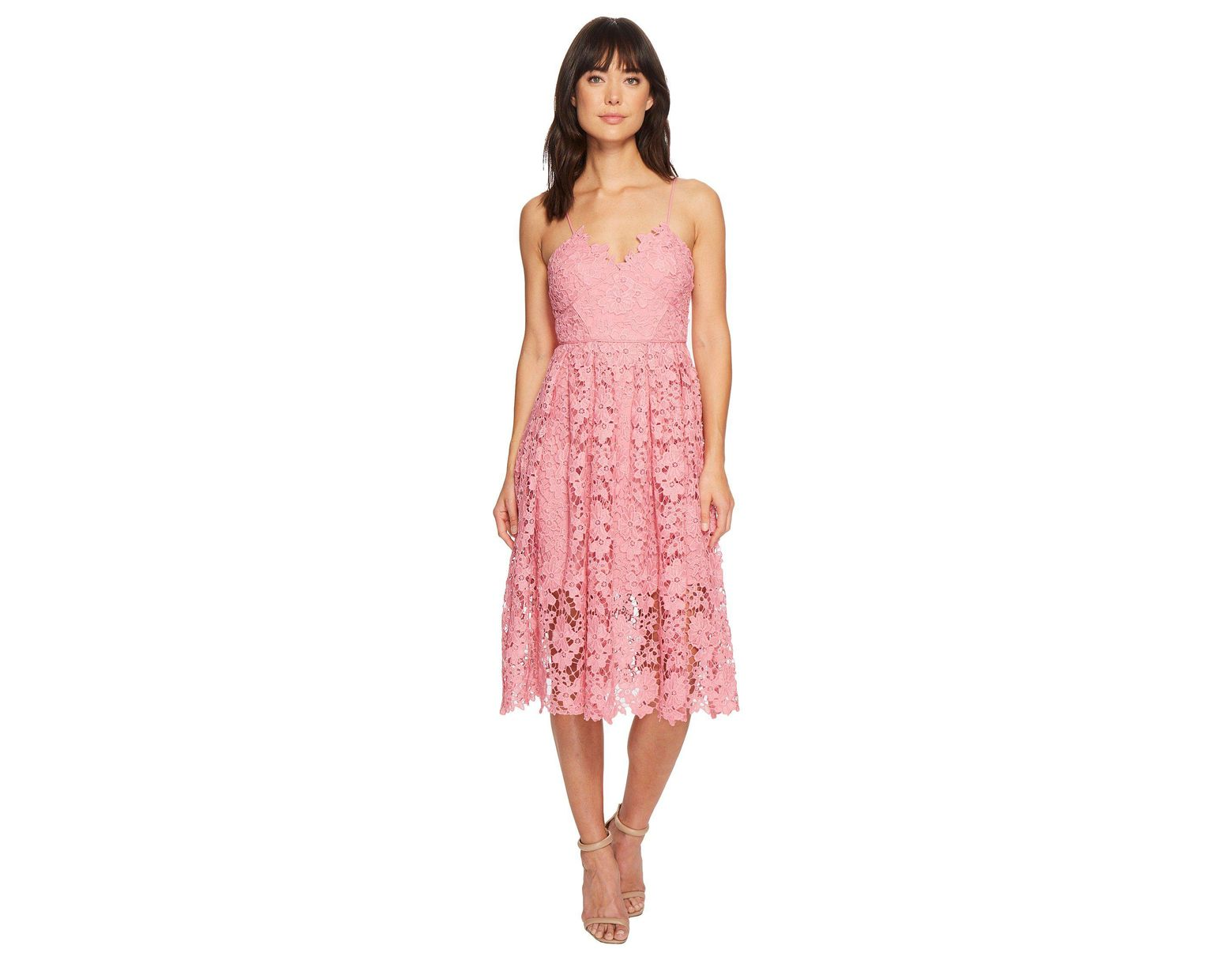 3dff05a9b9 Donna Morgan Spaghetti Strap Lace Midi Dress in Pink - Save 44% - Lyst
