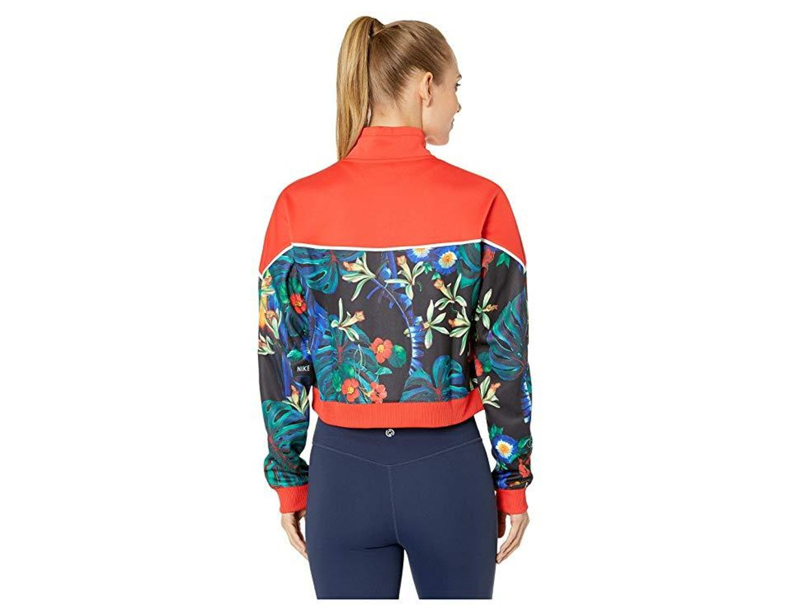 4e6520265 Nike Floral Cropped Track Jacket in Red - Save 31% - Lyst