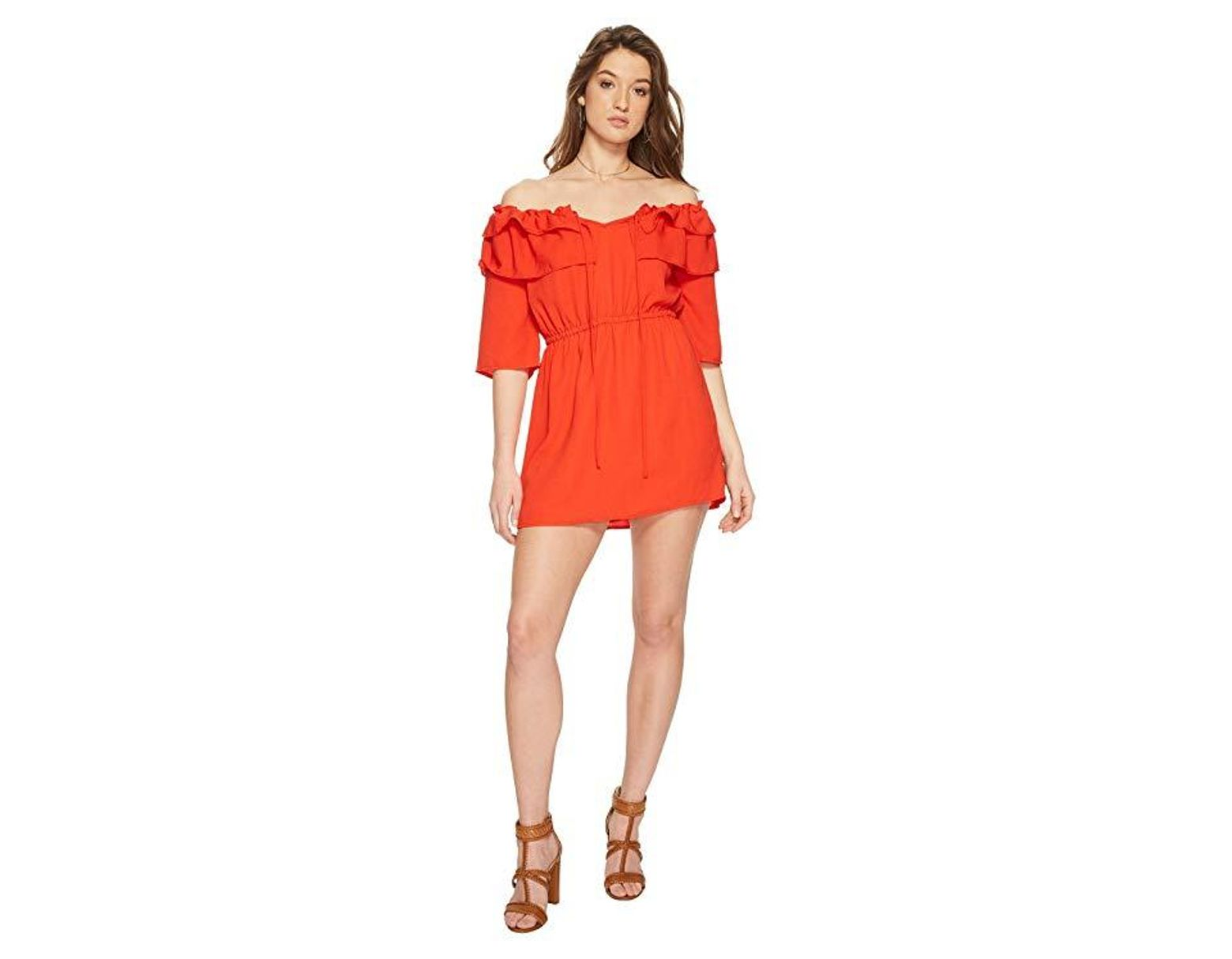 9da7842984484b Jack BB Dakota Bowser Off The Shoulder Dress (poppy Red) Dress in Red -  Save 38% - Lyst
