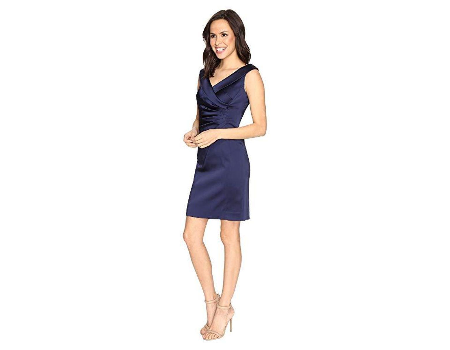 3944dda7f68e Tahari Stretch Satin Sheath Dress With Side Ruche (navy) Dress in Blue -  Save 59% - Lyst