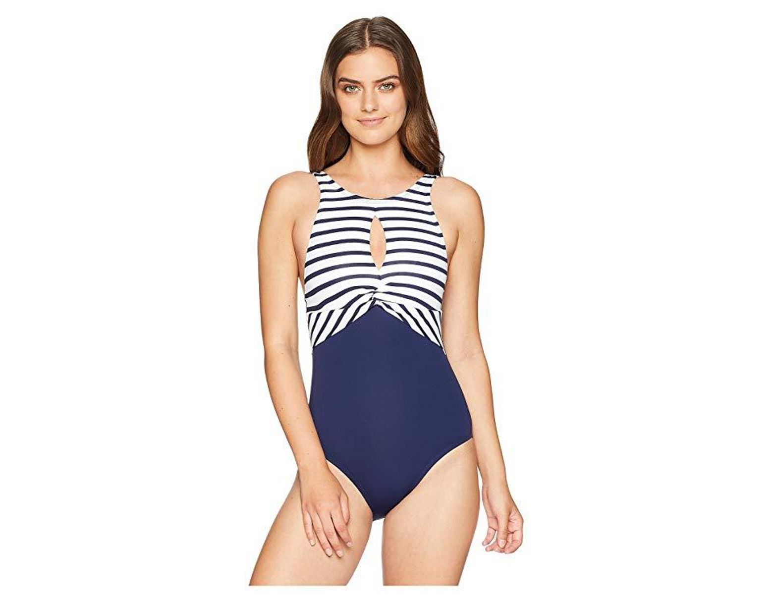 c97edb3834 Tommy Bahama Channel Surfing Twist-front High-neck One-piece Swimsuit in  Blue - Save 42% - Lyst
