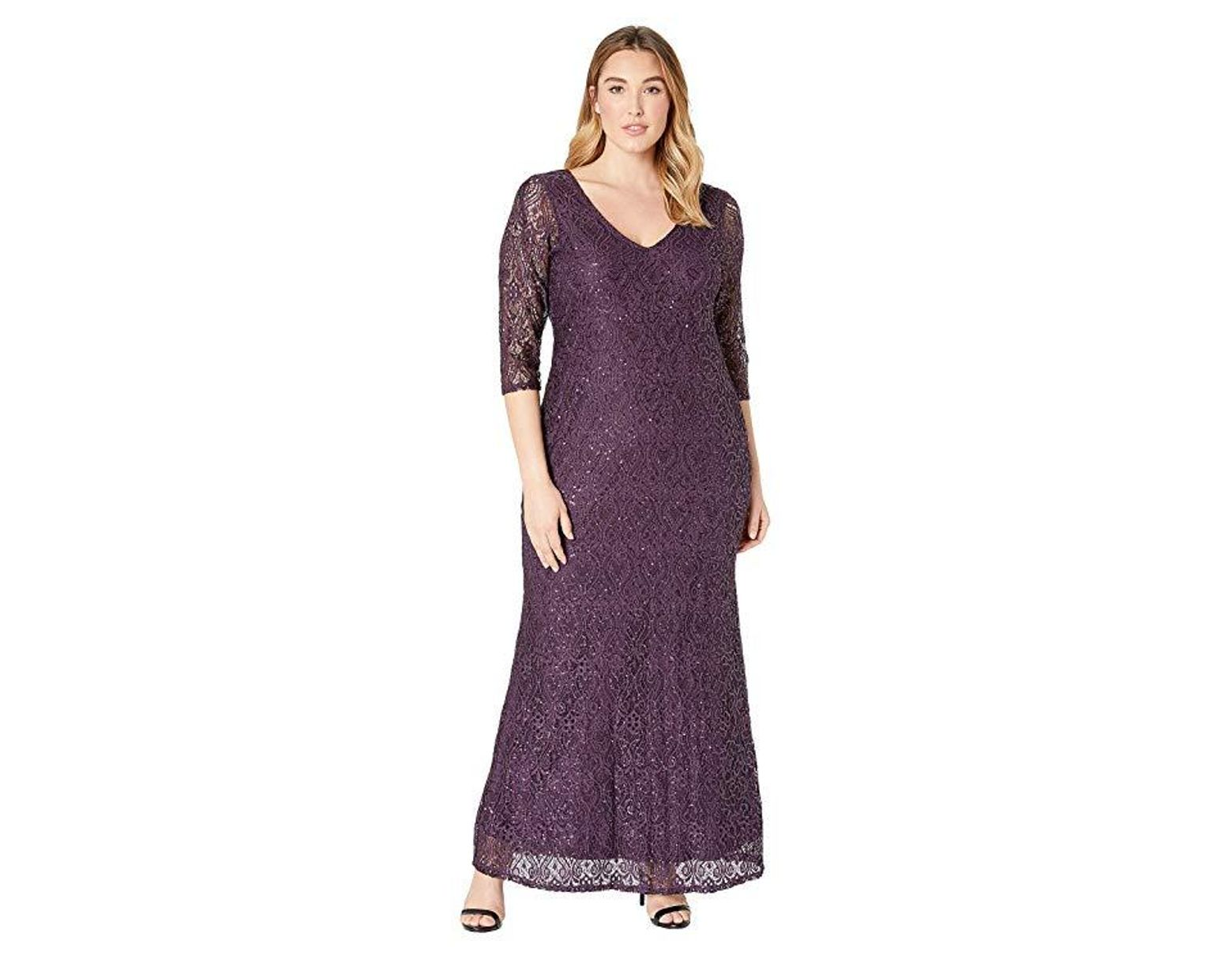 Marina Plus Size Stretch Sequin Lace 3/4 Sleeve Gown (Eggplant ...