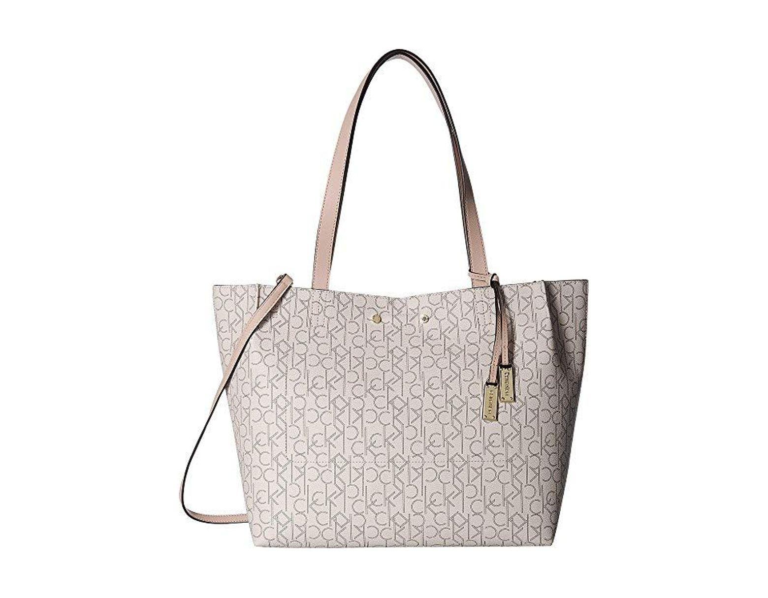 dd208516bd Calvin Klein Monogram Tote (almond/khaki/desert Taupe) Tote Handbags in  Natural - Lyst