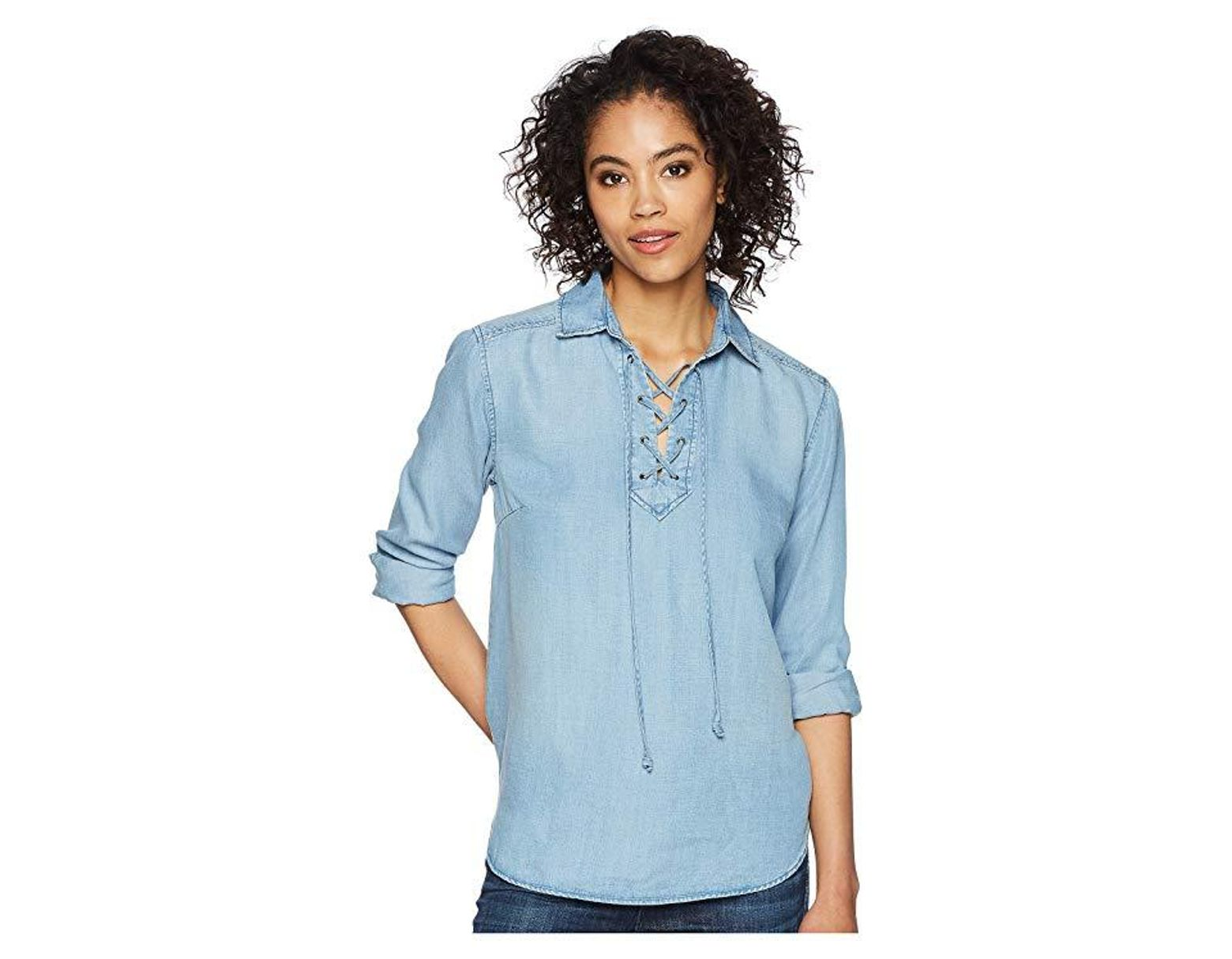 1aa01c4ff25a5f Liverpool Jeans Company Lace-up Front Shirt (sonoma Light) Clothing in Blue  - Save 47% - Lyst