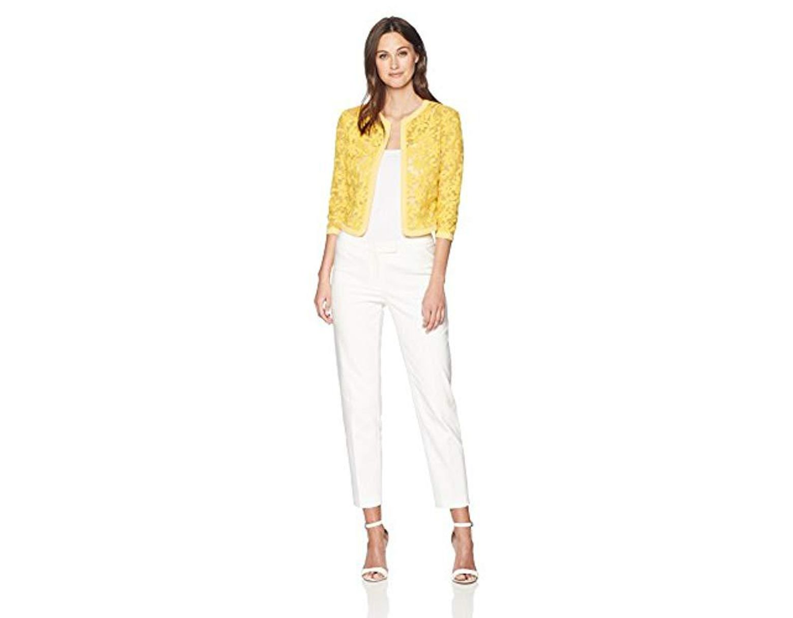 48c05392 Anne Klein Floral Lace Mesh Cardigan in Yellow - Lyst