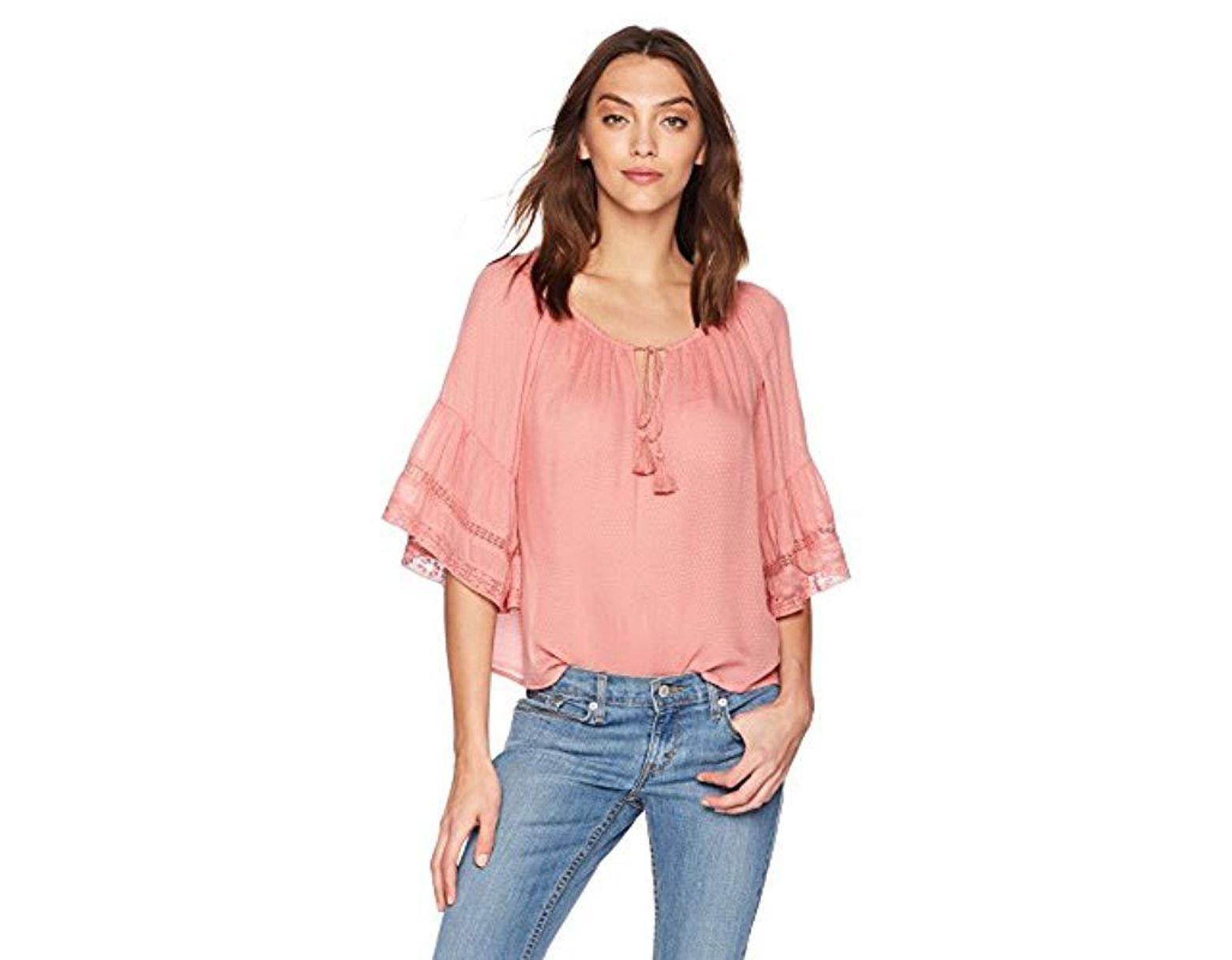 2b31ea4b2 Lucky Brand Bell Sleeve Peasant Top in Pink - Save 56% - Lyst