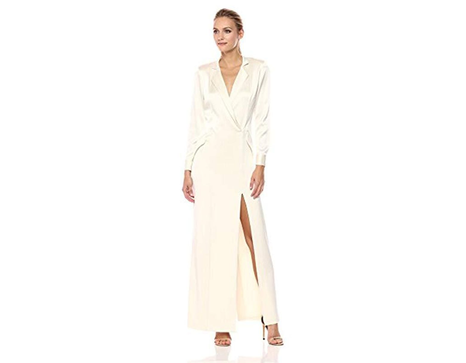 17bd1a38d5ac Halston Long Sleeve Shirt Dress Gown in Natural - Save 26% - Lyst