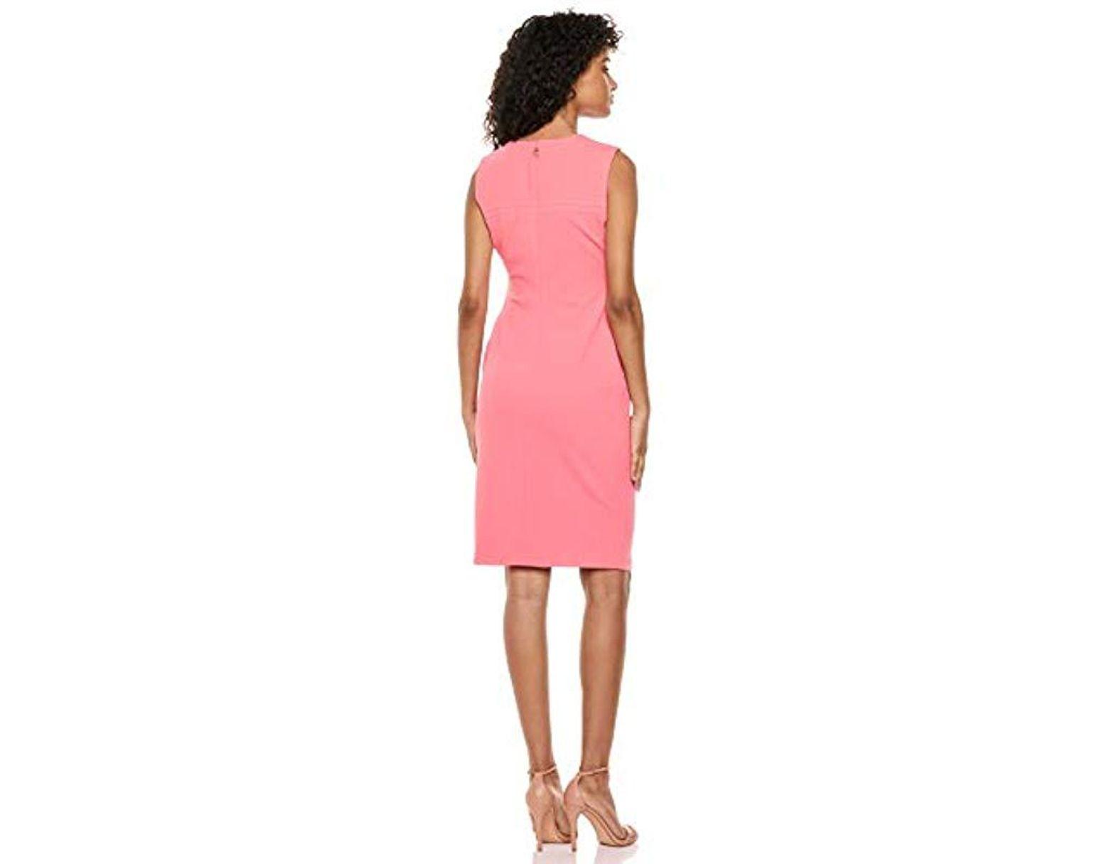 1bc6a36b03d72 Tommy Hilfiger Assymetrical Top Stitch Sheath in Pink - Lyst