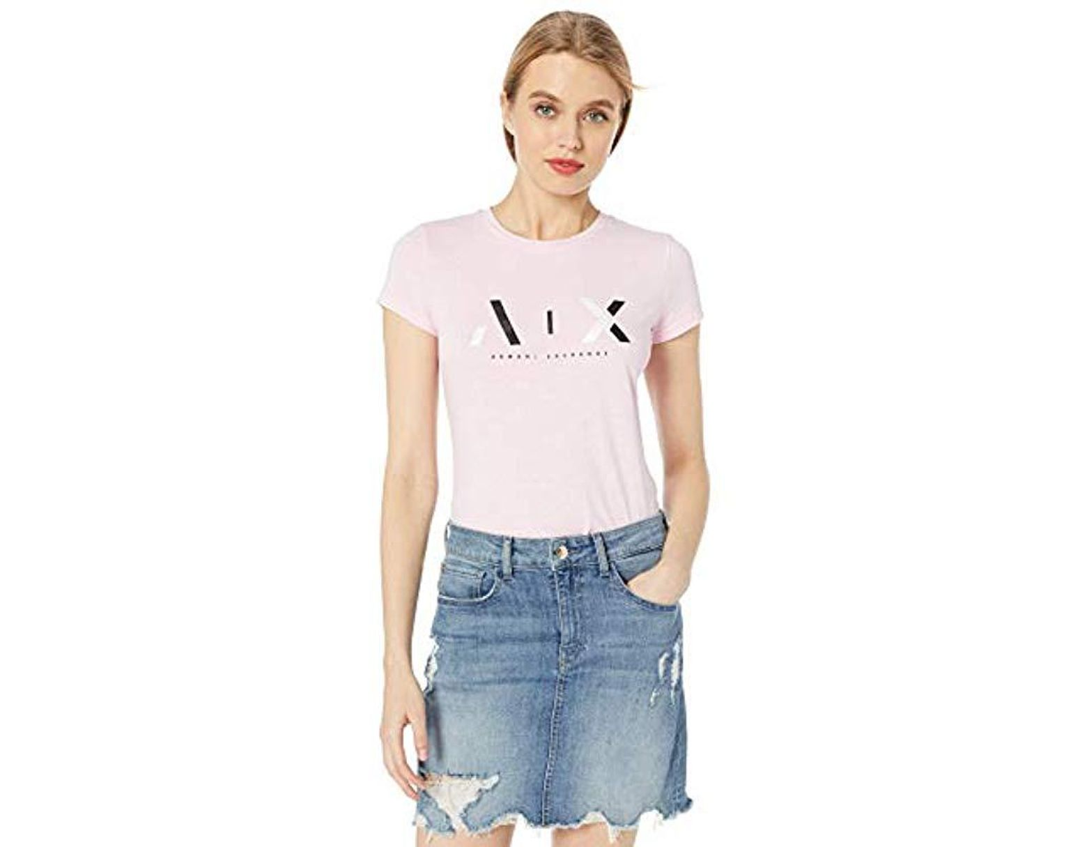 36cfe3f4 Armani Exchange | Two Toned Logo Slim Fit Scoop Neck Tee in Pink - Lyst