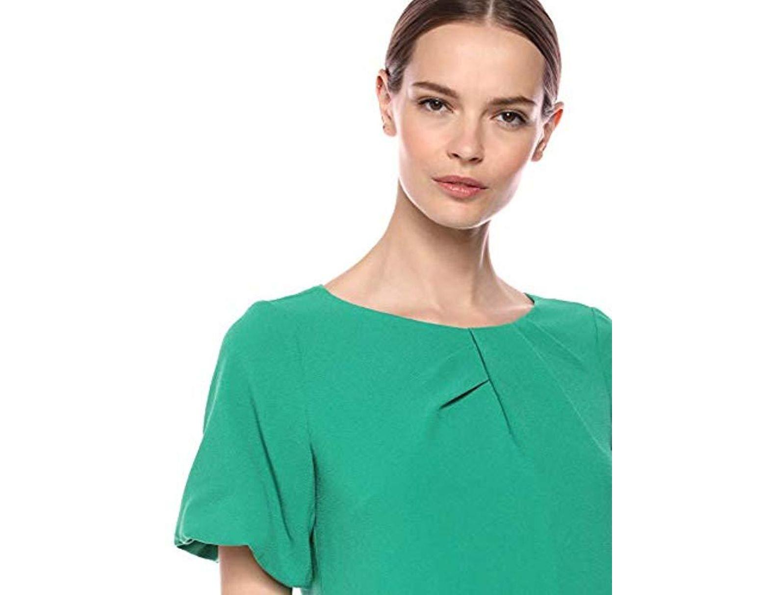 59f2dd23 Adrianna Papell Puff Sleeve Shift Dress in Green - Lyst
