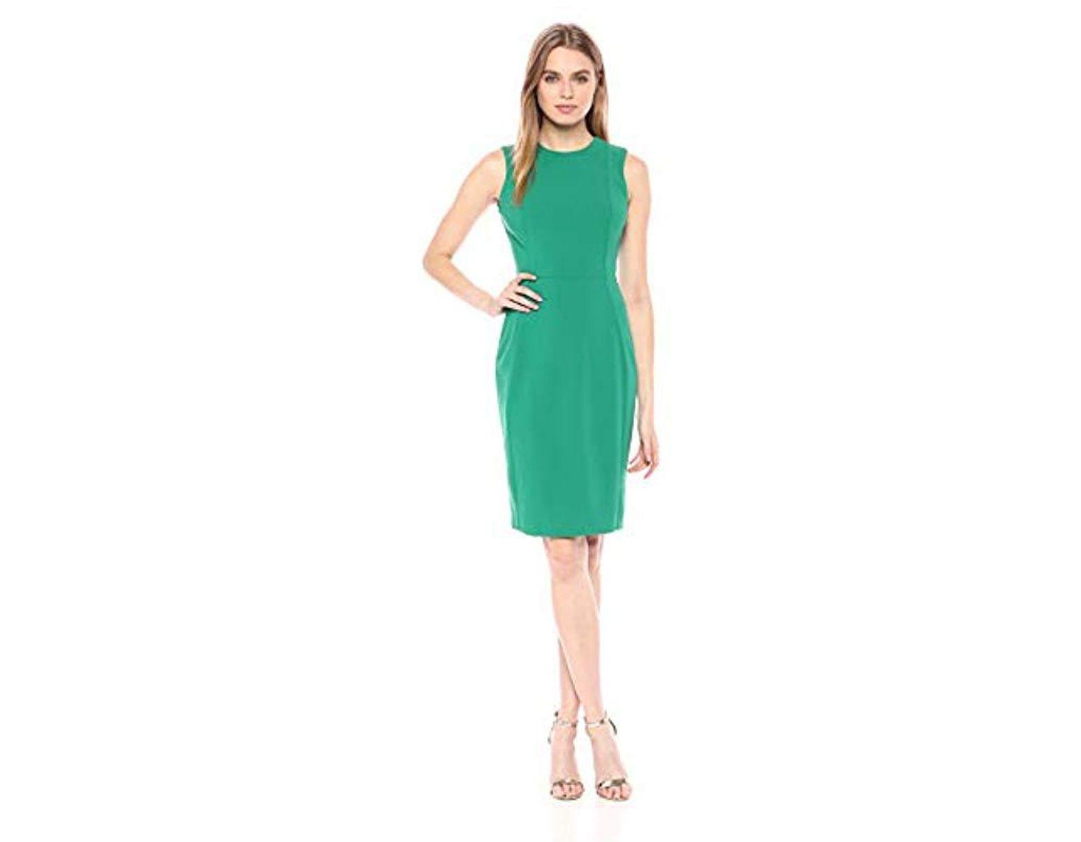 4e798bbe Calvin Klein Scuba Crepe Sleeveless Princess Seam Sheath Dress in Green -  Save 9% - Lyst