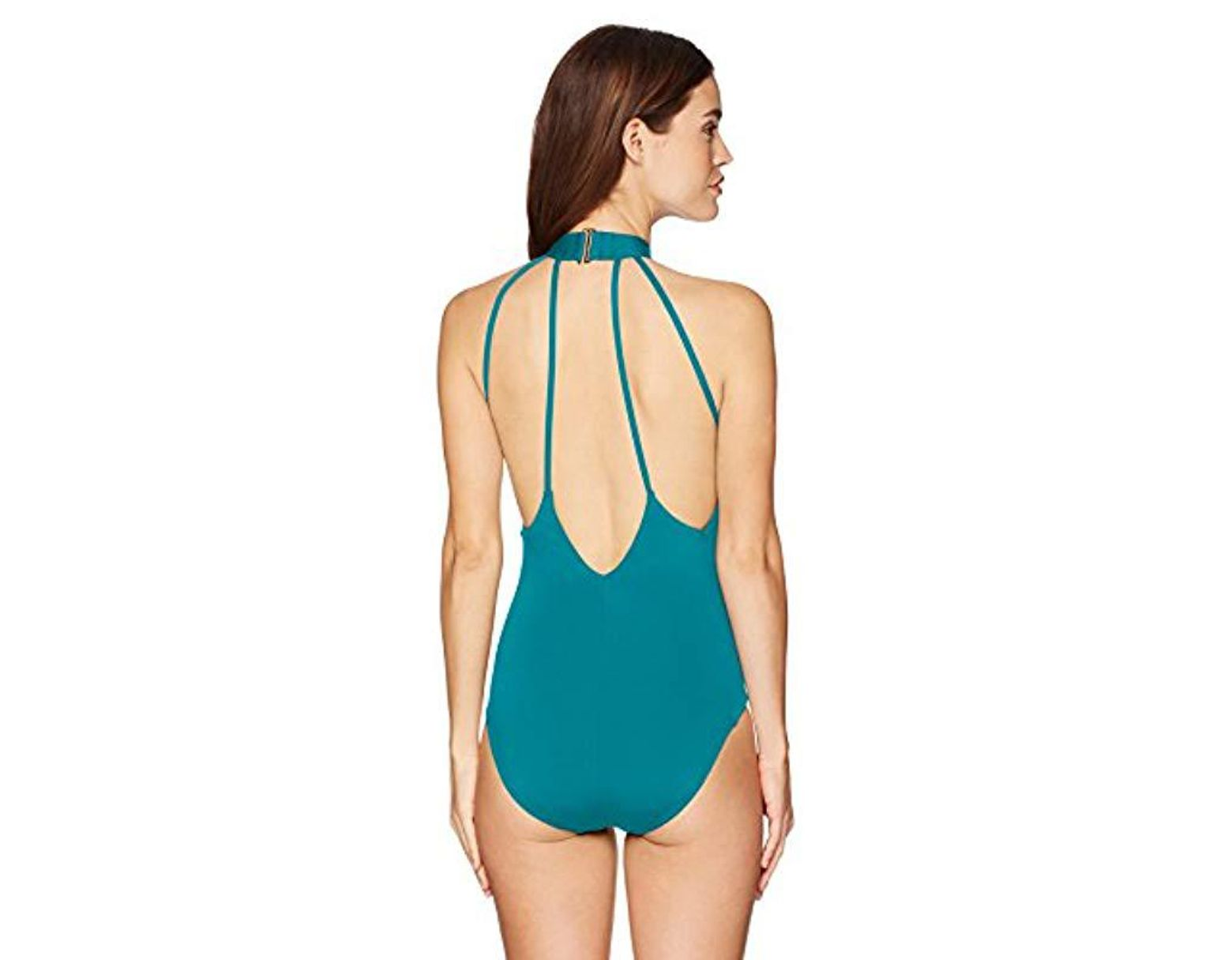 75a4ce199 Laundry by Shelli Segal Italian Luxe Solids Choker One Piece Swimsuit in  Blue - Save 24% - Lyst
