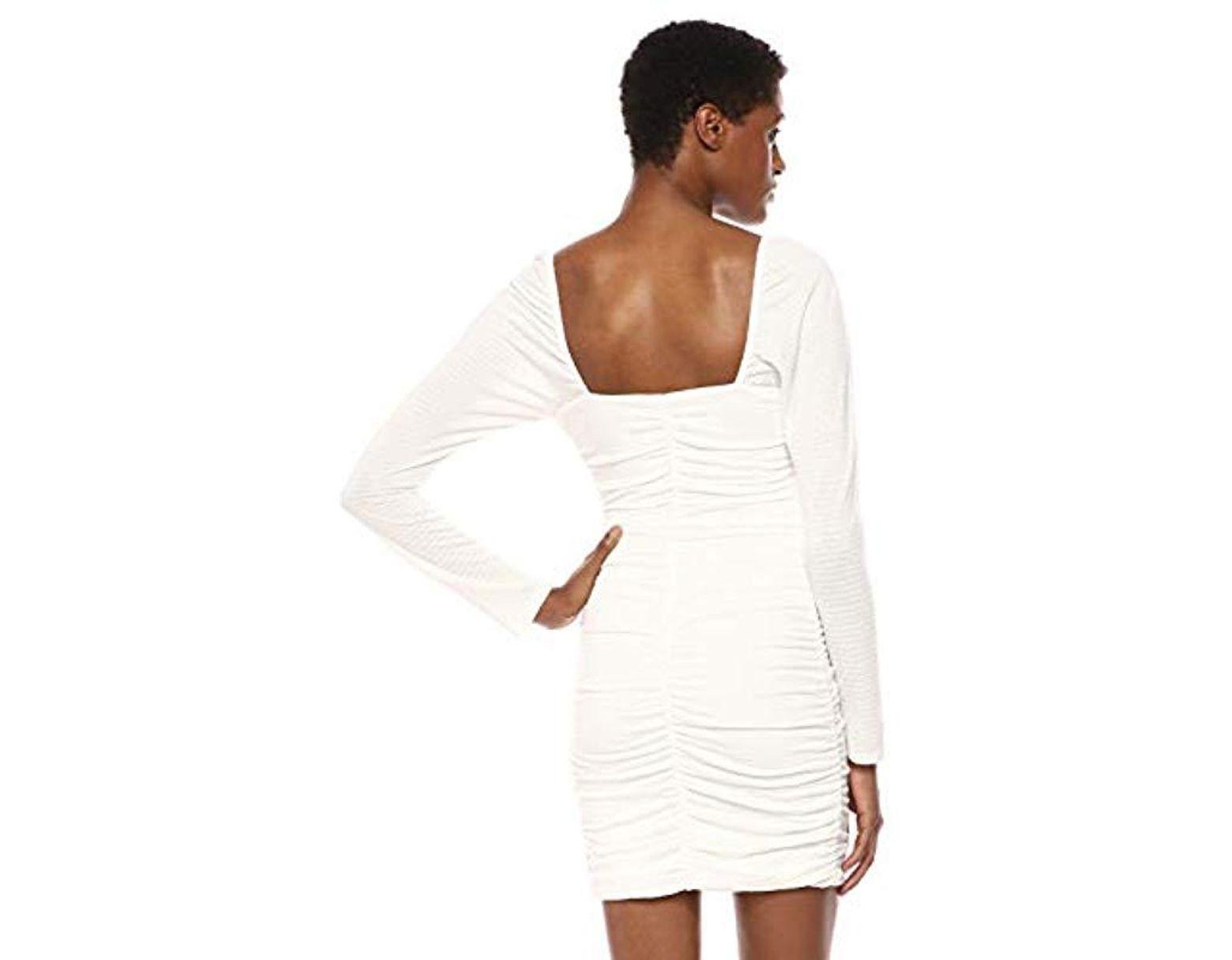 93aba33c5ac6 Ali & Jay Snapdraggon Long Sleeve Bodycon Ruched Short Mini Dress in White  - Lyst