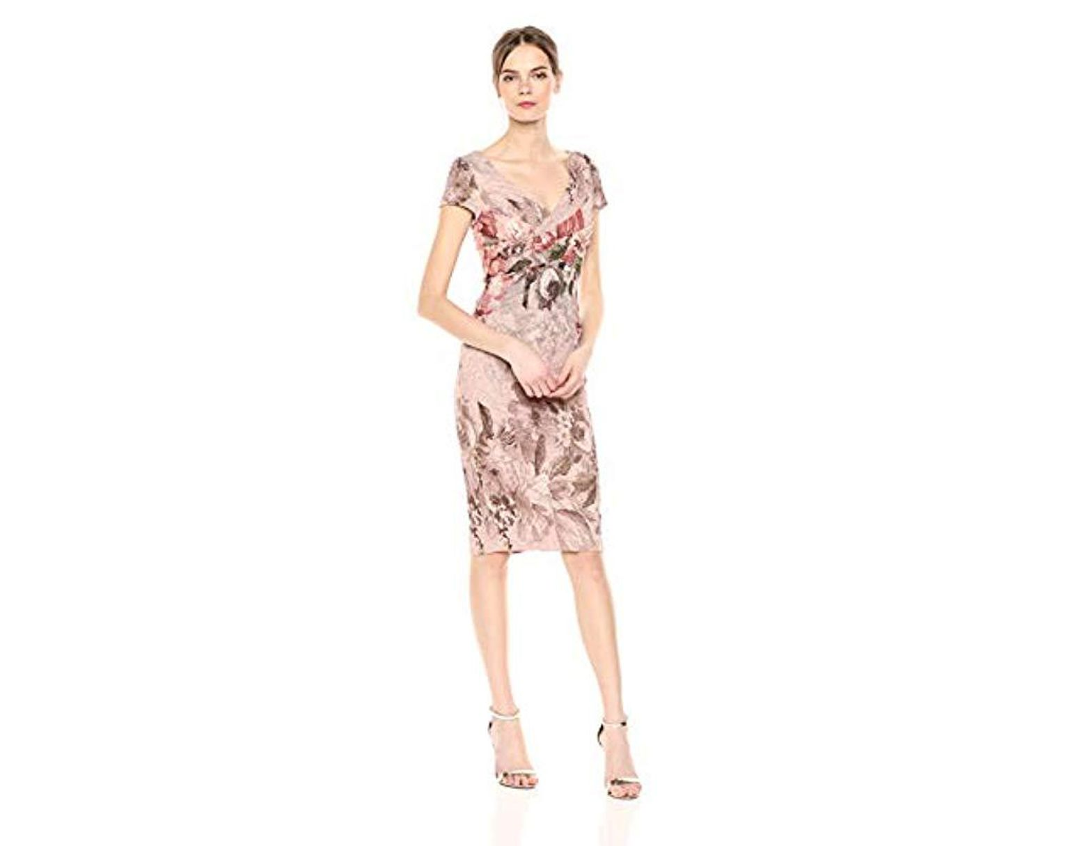 6f40e733ab8 Adrianna Papell Border Print Short Dress in Pink - Lyst